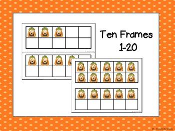 Jack O' Lantern Ten Frames and Ten Frame Centers