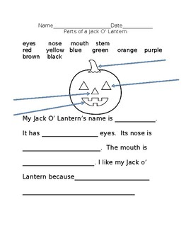 Jack O' Lantern - parts of a face and colors