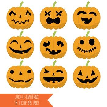 Jack O' Lanterns Clipart / Halloween Clipart