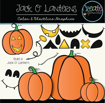 Jack O' Lanterns - Digital Clipart