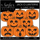Jack-O-Lanterns Clipart {A Hughes Design}