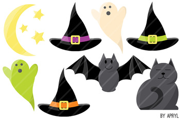 Halloween Clip Art PNG Commercial Use Pumpkin Cat Bat Candy Ghost Hat Spider Web
