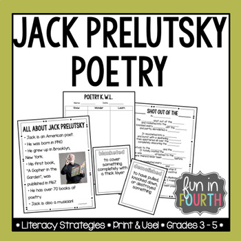 Jack Prelutsky Poetry Author Study And Poem Writing Activity Tpt