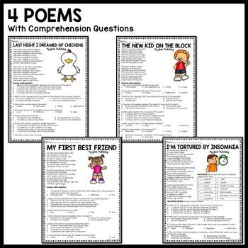 Jack Prelutsky biography, 4 poems, reading comprehension poetry worksheet