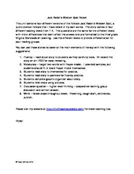 Jack Rabbit's Wisdom Spot - Virginia Standards of Learning Literacy Packet