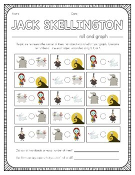Disney Inspired Jack Skellington Roll and Graph Activity and Data Sheets