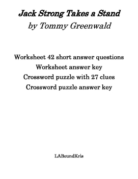 Jack Strong Takes a Stand Study Guide, Quiz, and Crossword