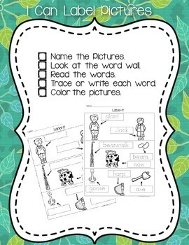 Jack & The Beanstalk Writing and Literacy Center Activities