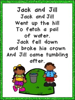 Jack and Jill Book, Poster, & MORE - Preschool Kindergarten Nursery Rhymes