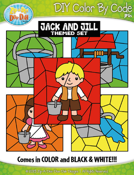 Jack and Jill Color By Code Clipart {Zip-A-Dee-Doo-Dah Designs}