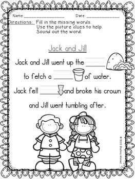 Jack and Jill Literacy Activities