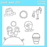 Jack and Jill Line Drawing Clip Art  C. Seslar