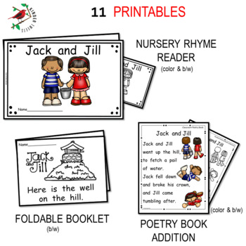 Jack and Jill Nursery Rhyme Literacy Centers for Emergent Readers