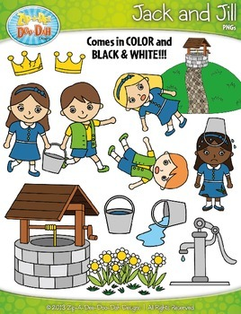 Jack and Jill Nursery Rhyme Clipart Set — Over 75 Graphics!