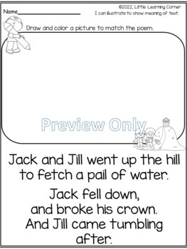 Poetry Packet - Jack and Jill