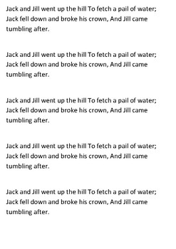 Jack and Jill Word Search