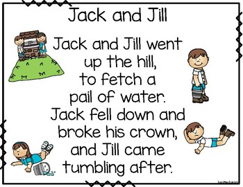 Jack and Jill build a poem pocket chart center