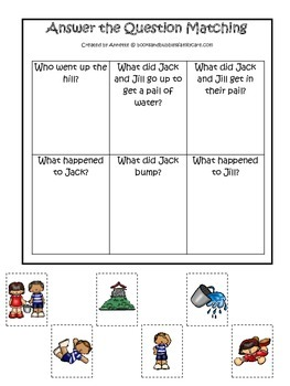 Jack and Jill themed Answer the Question printable game.  Preschool activity.