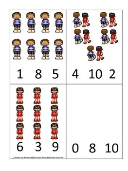 Jack and Jill themed Count and Clip Cards child math curriculum.