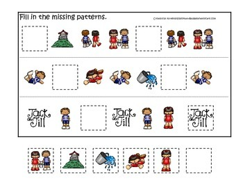 Jack and Jill themed Fill in the Missing Pattern preschool printable game.