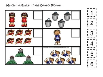 Jack and Jill themed Match the Number preschool educational game.