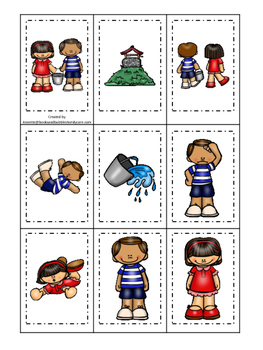 Jack and Jill themed Memory Matching preschool curriculum game. Daycare
