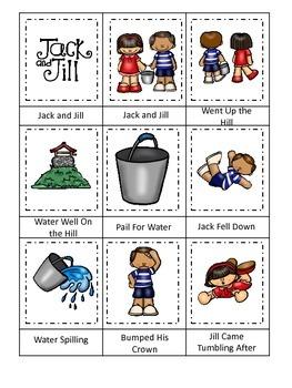 Jack and Jill themed Three Part Matching preschool printable activity.