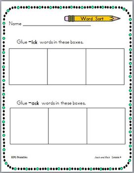 Jack and Rick: First Grade Spelling and Sight Words Packet