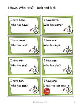 """Jack and Rick """"I HAVE, WHO HAS?"""" Sight Word Practice for Harcourt Trophies"""