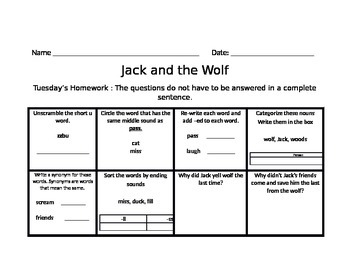 Jack and The Wolf Journey's Common Core