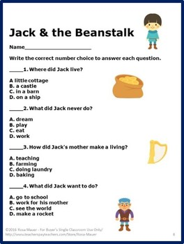 Jack and the Beanstalk Comprehension Unit