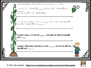 Jack and the Beanstalk Addition and Subtraction in the Number Line