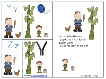 Jack and the Beanstalk Alphabet to Initial Sound Match Game