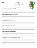 Jack and the Beanstalk Cause and Effect Comprehension Questions