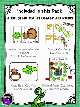 Jack and the Beanstalk Math Activity Pack for Kindergarten