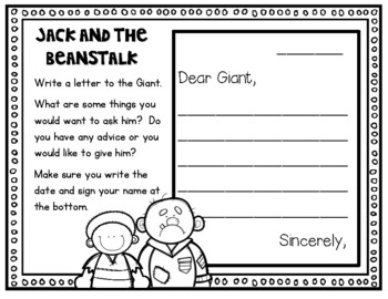Jack and the Beanstalk Response Journal for K-2