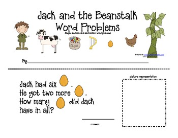 Jack and the Beanstalk Simple Word Problem Practice--Addition and ...