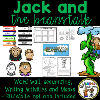 Jack and the Beanstalk Word Wall, Masks, Sequencing and Writing Activities