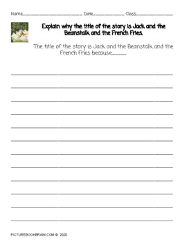 Jack and the Beanstalk and the French Fries Lesson Plan and Activities