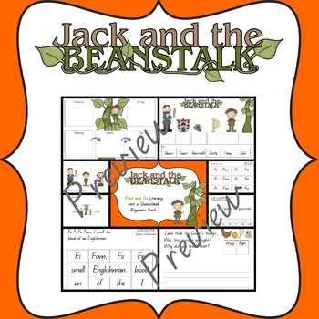 Jack and the Beanstalk literacy activities in Queensland Beginners font.