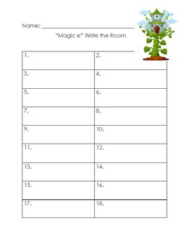"Jack and the Beanstalk, ""magic e"" Write the Room"