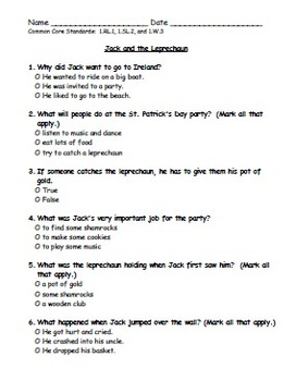Jack and the Leprechaun Comprehension Test for St. Patrick's Day