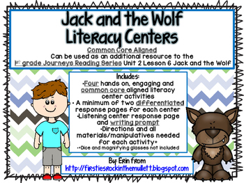 Jack and the Wolf Common Core Literacy Centers- 1st Grade Journeys Lesson 6