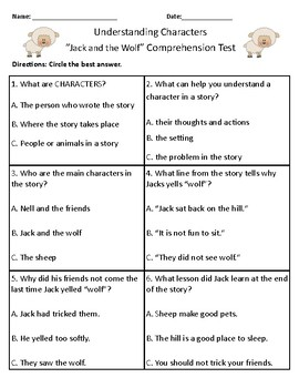 Jack and the Wolf- Vocabulary & Comprehension Test/Quiz (Journeys)