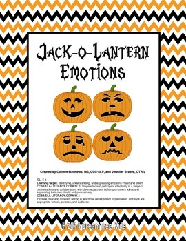 Jack-o-Lantern Emotions Mini-Unit ~ NEW LESSON INCLUDED!