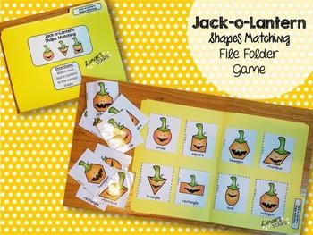 Jack-o-Lantern File Folder Game: Shape Matching
