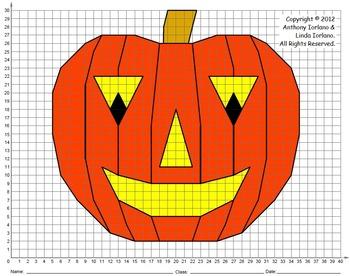 Halloween, Jack-o'-Lantern, Coordinate Graphing, Coordinate Drawing