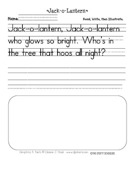 Jack-o-Lantern Handwriting Printable