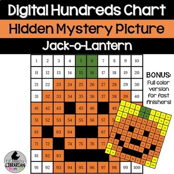 Jack-o-Lantern Hundreds Chart Picture Activity for Halloween or Fall Math