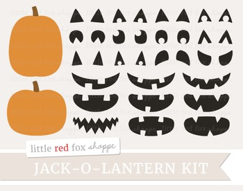 Jack-o-Lantern Kit Clipart; Halloween, Pumpkin